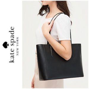 NWT Kate Spade genuine leather zip tote black